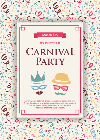 Concept of Carnival Party invitation with colorful background with serpentines. Vector Ilustração
