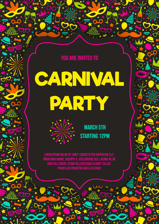 Carnaval Party - funny invitation with colorful background. Vector