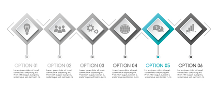 Gray infographic with business icons. Vector