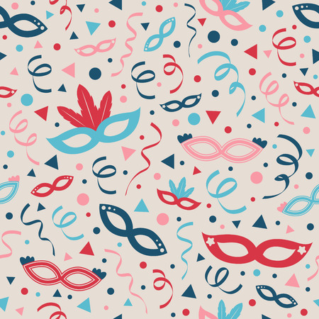 Carnival Party seamless pattern with masks and confetti. Vector. Ilustração