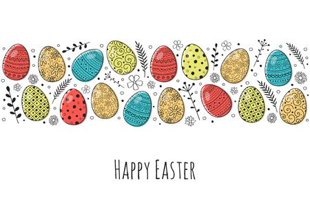 Vintage greeting card with hand drawn Easter eggs. Vector Ilustração