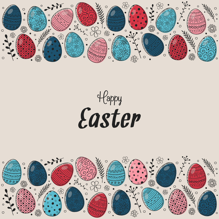 Vintage greeting card with hand drawn Easter eggs. Vector Illustration