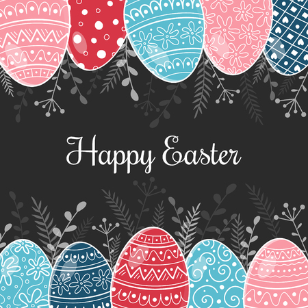 Easter postcard with hand drawn eggs and wishes. Vector