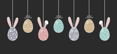 Banner with hanging Easter eggs with funny bunny ears. Vector