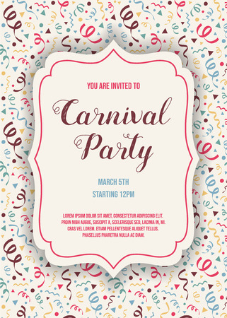 Carnival Party invitation with colorful texture. Vector Ilustração