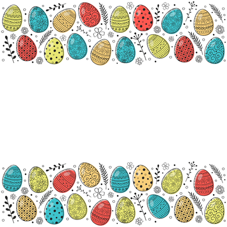 Easter background with decorative eggs. Vector