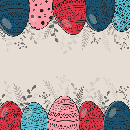Retro greeting card with painted Easter eggs. Vector