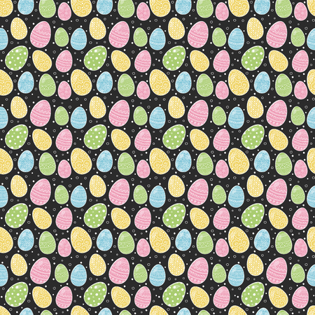 Colorful Easter texture with decorative hand drawn eggs. Vector Ilustração