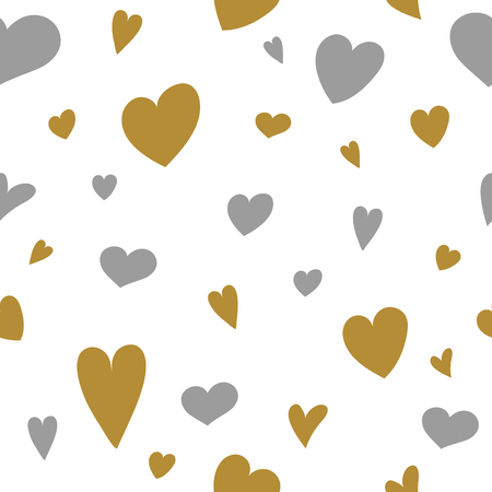 Seamlees pattern with hand drawn hearts. Valentines Day, Mothers Day and Womens Day. Vector Ilustração