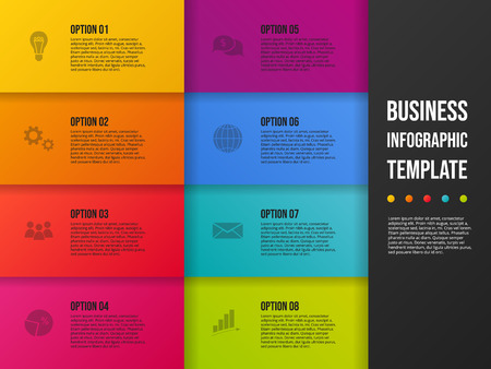 Business presentation slide with icons - company timeline. Vector