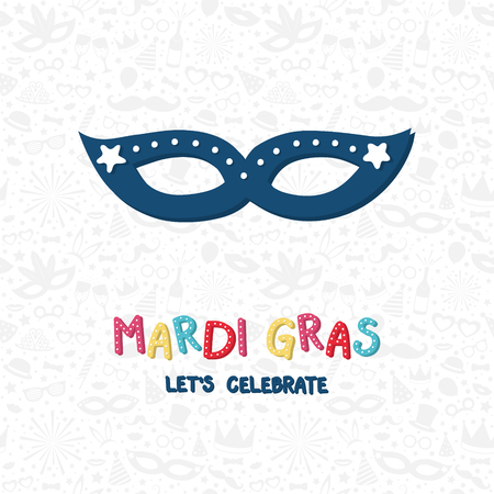 Concept of Mardi Gras greetings with colorful hand drawn mask. Vector