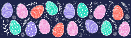 Colorful Easter eggs - banner. Vector