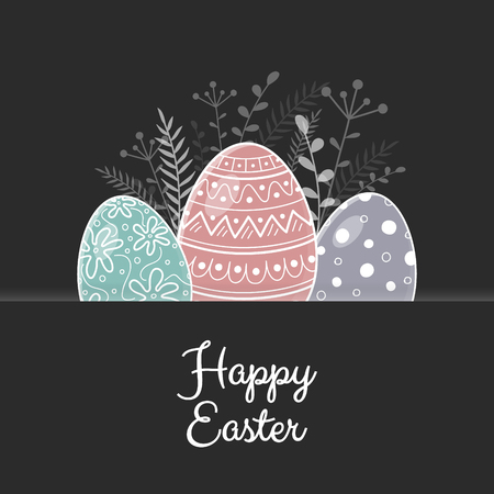 Easter greeting card with beautiful eggs. Vector