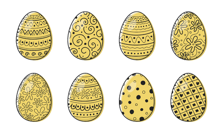 Cute hand drawn Easter eggs - collection. Vector