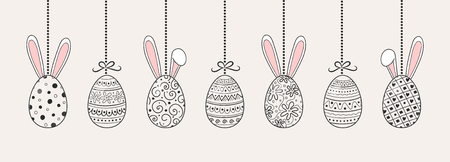 Beautiful hanging Easter eggs with bunnies. Vector