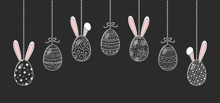 Hand drawn Easter eggs with funny rabbit ears. Vector