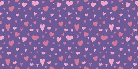 Colorful background with hand drawn hearts. Valentines Day, Mothers Day and Womens Day. Vector