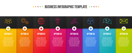 Colorful business infographic with icons. Ilustración de vector