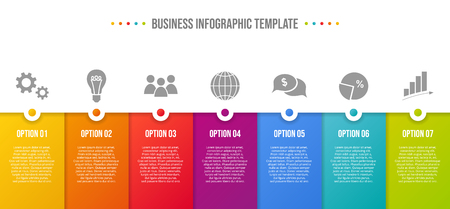 Infografía colorida con iconos de negocios.
