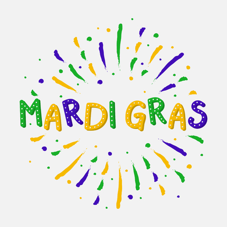 Mardi Gras Party - colorful banner with color splash. Vector