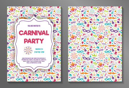 Carnival Party - concept of a two sided invitation. Vector