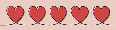 Banner with hand drawn hearts. Mothers Day, Womens Day and Valentines Day. Vector