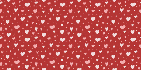 Design of a texture with cute hand drawn hearts. Valentines Day, Mothers Day and Womens Day. Vector