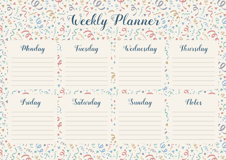 Weekly planner template with daily plans and notes on background with confetti. Vector Иллюстрация