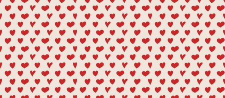 Seamless texture with cute hand drawn hearts. Valentines Day, Mothers Day and Womens Day. Vector Ilustração