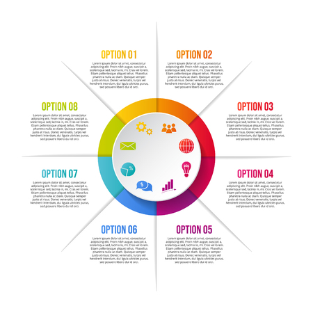 Chart with colorful business icons - infographic template. Vector