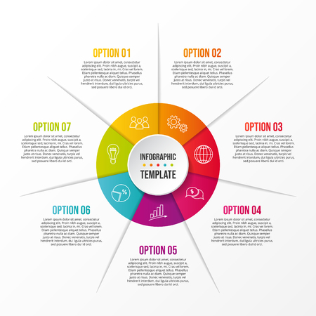 Round infographic template - business timeline. Vector Illustration