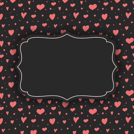 Background with cute hand drawn hearts for Mothers Day, Womens Day and Valentines Day. Vector Ilustração