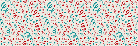 Funny wallpaper with with confetti and serpentines - party concept. Vector  イラスト・ベクター素材