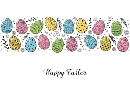 Easter greeting card with hand drawn painted eggs. Vector
