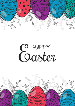 Concept of an Easter brochure with retro hand drawn eggs. Vector