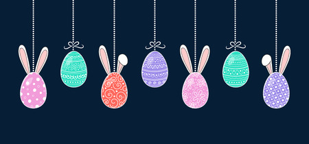 Design of Easter banner with hand drawn eggs and bunnies. Vector