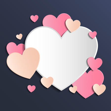Template of a card with cute paper cut hearts. Mothers Day, Womens Day and Valentines Day. Vector 일러스트