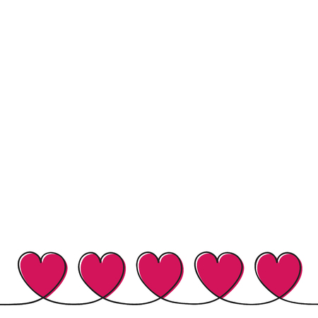 Cute greeting card with hand drawn hearts and copyspace. Vector 일러스트