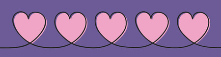 Banner with cute hand drawn hearts. Valentines Day, Mothers Day and Womens Day. Vector 일러스트