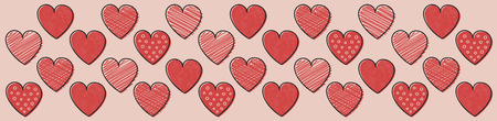 Panoramic header with cute hearts. Valentines Day, Mothers Day and Womens Day. Vector