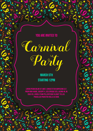 Carnaval Party invitation with colorful background. Vector