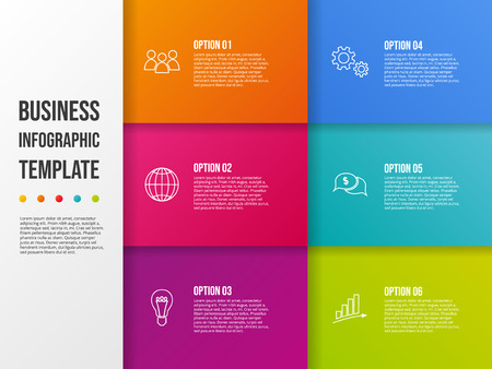 Colorful infographic template with business icons. Vector Ilustración de vector