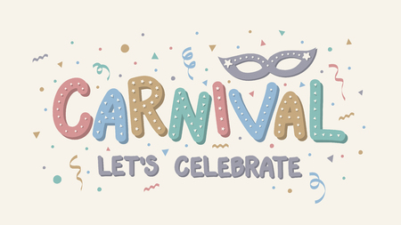 Concept of Carnaval calligraphy with hand drawn party elements. Vector