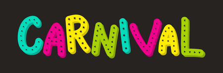 Carnaval Party - colorful banner with hand drawn text. Vector