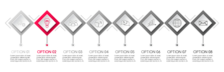Concept of a gray infographic with business icons. Vector Illusztráció