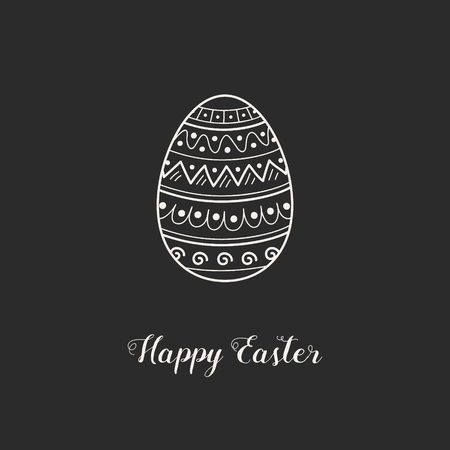 Hand drawn Easter greeting card with egg. Vector