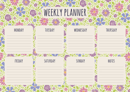 Weekly planner design with background with hand drawn flowers. Vector