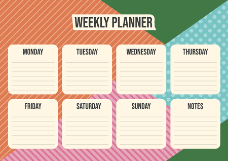 Weekly organizer - planner with geometrical background. Vector