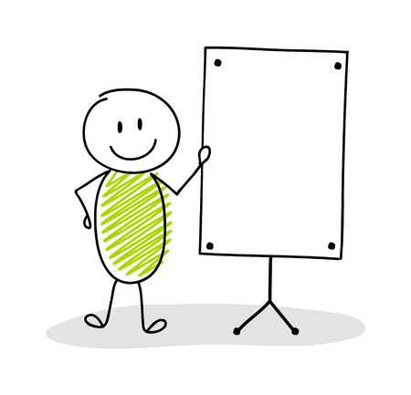 Funny hand drawn stickman with empty whiteboard. Vector