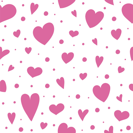Background with cute hand drawn hearts. Valentines Day, Mothers Day and Womens Day. Vector